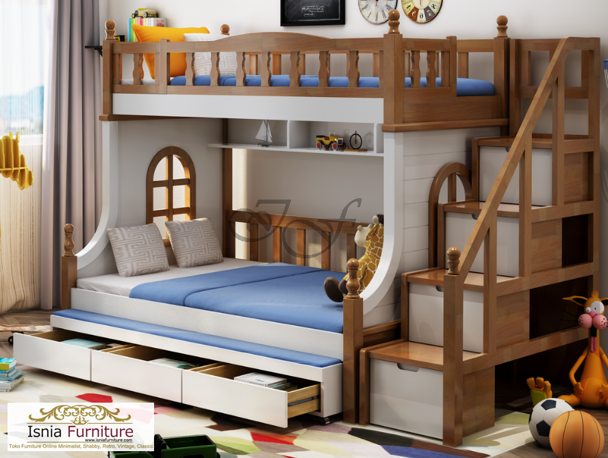 tempat tidur tingkat unik laci bawah kayu jati