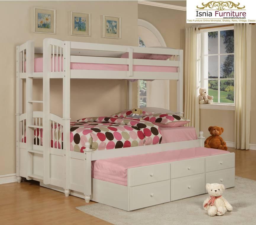 Dipan-Tingkat-Anak-Sorong-Perempuan-Pink 79 Model Ranjang Tempat Tidur Tingkat Kayu Minimalis Harga Murah