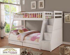 Model Tempat Tidur Tingkat Kayu Jati Terbaru Putih