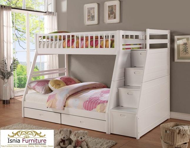 Model-Tempat-Tidur-Tingkat-Kayu-Jati-Terbaru-Putih Model Tempat Tidur Tingkat Kayu Jati Terbaru