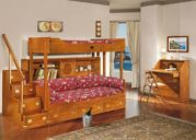 ranjang tingkat anak dan meja belajar kayu