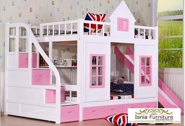 Tempat-Tidur-Susun-Pink-Cantik Tempat Tidur Tingkat Anak Perempuan