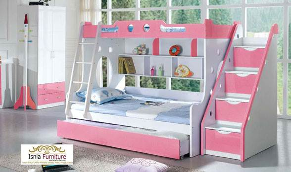 Tempat-Tidur-Tingkat-Anak-Perempuan 49 Model Tempat Tidur Tingkat Kayu Desain Minimalis | JUAL HARGA MURAH