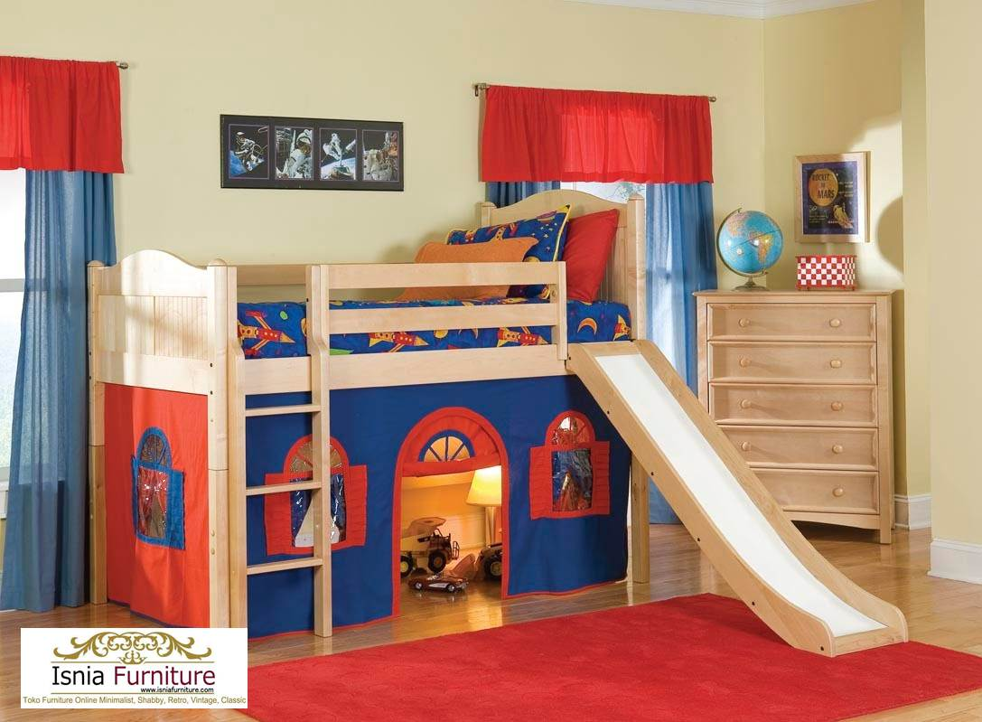 Tempat-Tidur-Tingkat-Kayu-Jati-Perosotan-laki-laki Tempat Tidur Anak Tingkat Laki Laki