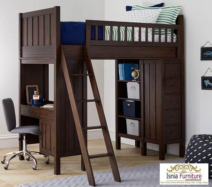 tempat-tidur-tingkat-model-meja-belajar Tempat Tidur Anak Tingkat Laki Laki
