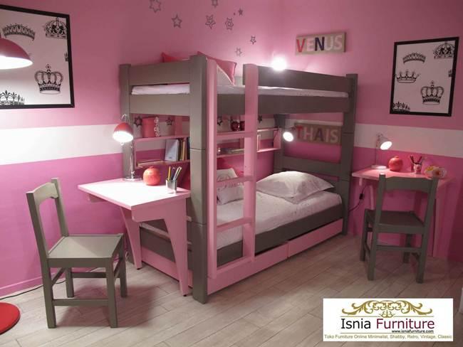 tempat-tidur-tingkat-perempuan-dengan-meja-belajar 79 Model Ranjang Tempat Tidur Tingkat Kayu Minimalis Harga Murah