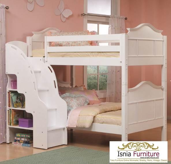 tempat-tidur-tingkat-perempuan-dengan-rak 49 Tempat Tidur Tingkat Kayu Minimalis | JUAL HARGA MURAH
