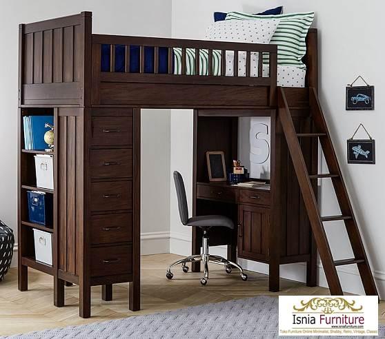 Jual-tempat-tidur-tingkat-dengan-meja-belajar 79 Model Ranjang Tempat Tidur Tingkat Kayu Minimalis Harga Murah