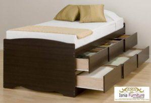 Tempat Tidur Anak Kayu Jati Set 6 Laci Bawah