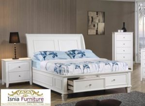 Jual Tempat Tidur Medan Model Laci Putih Minimalis