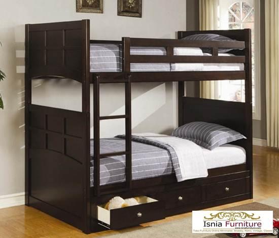 Tempat-Tidur-Tingkat-laci-bawah 79 Model Ranjang Tempat Tidur Tingkat Kayu Minimalis Harga Murah