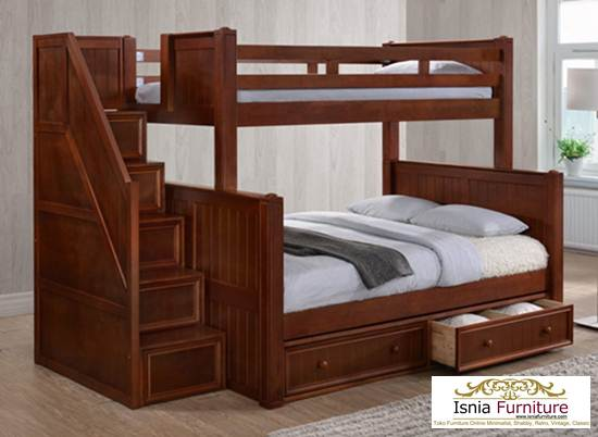 dipan-susun-kayu-jati-laci-bawah 79 Model Ranjang Tempat Tidur Tingkat Kayu Minimalis Harga Murah