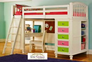 Tempat Tidur Anak Tingkat Dengan Meja Belajar