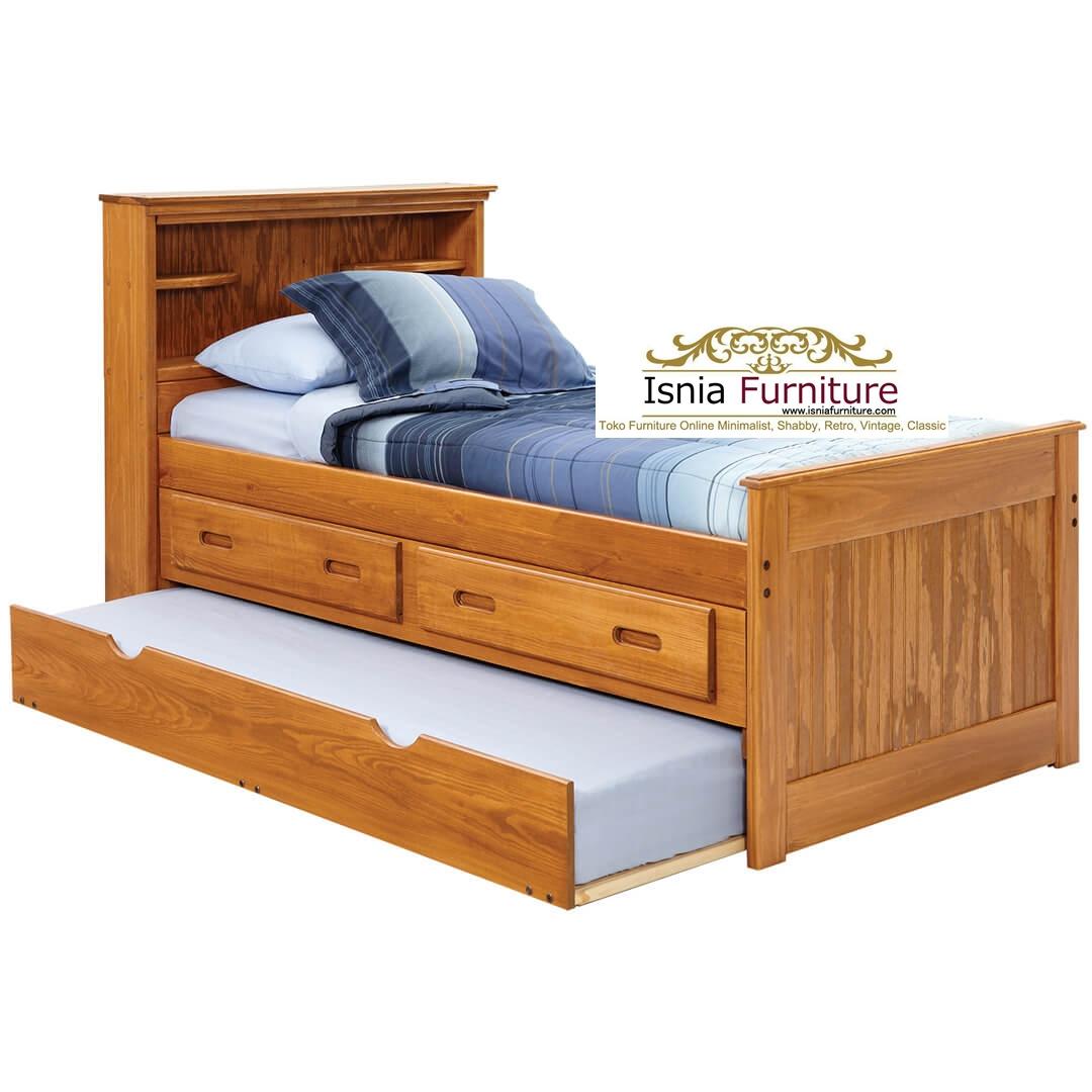 tempat-tidur-sorong-natural-jati-solid Tempat Tidur Sorong Minimalis Natural Kayu Jati Solid