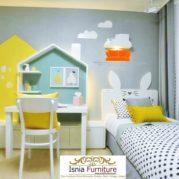Meja Belajar Anak Kayu Minimalis Model Rumah Warna Putih