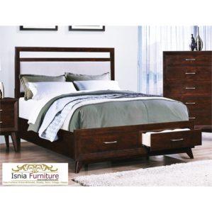 Model Tempat Tidur Minimalis Kayu Jati Dengan 2 Laci