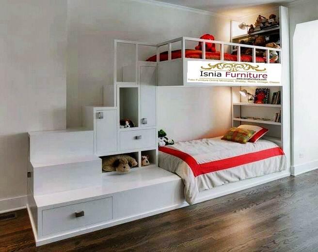 set-kamar-tidur-anak Set Kamar Tidur Anak Dipan Kayu Tingkat Duco Putih