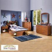 Set Tempat Tidur Kayu Untuk Anak Laki-laki Minimalis Berlaci