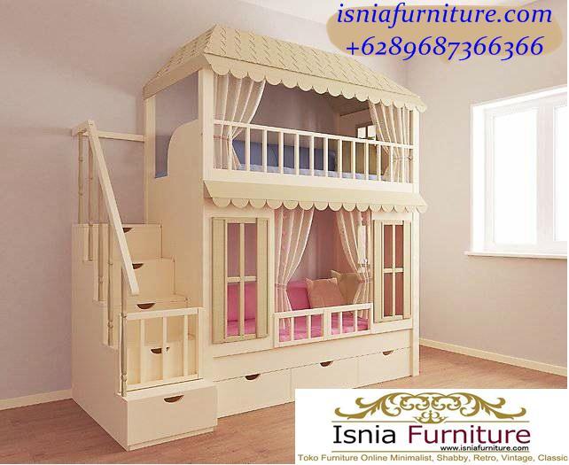 Tempat-Tidur-Tingkat-Model-Rumah-Putih-Untuk-Anak Tempat Tidur Tingkat Model Rumah Putih Untuk Anak Perempuan
