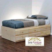 Dipan Jati Belanda Model Tempat Tidur Minimalis 6 Laci