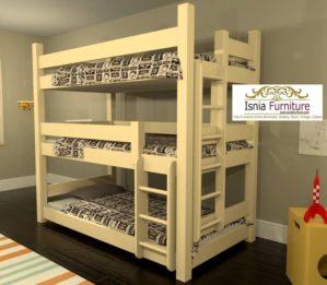 Jual Tempat Tidur Anak Tingkat 3 Minimalis Kayu Jati Murah