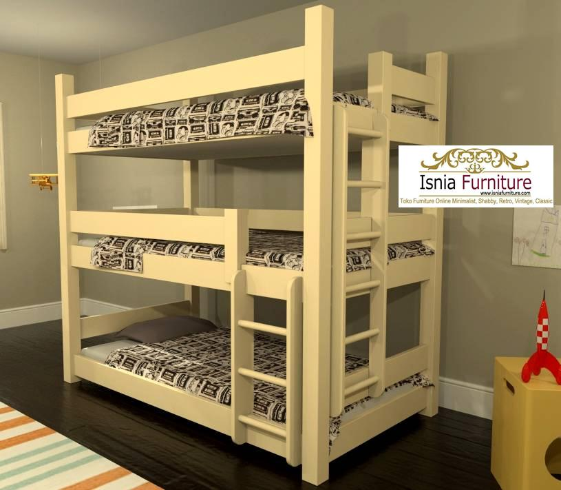 tempat-tidur-tingak-3-susun-kayu-jati Jual Tempat Tidur Anak Tingkat 3 Minimalis Kayu Jati Murah