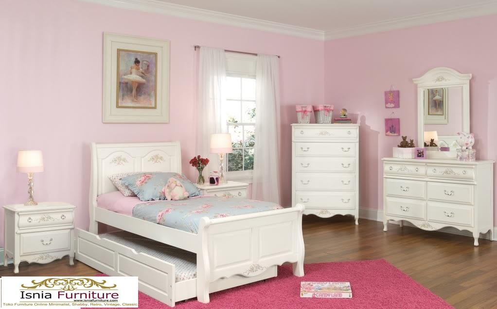 set-tempat-tidur-anak-perempuan-ranjang-sorong-minimalis Set Tempat Tidur Anak Model Ranjang Sorong Minimalis
