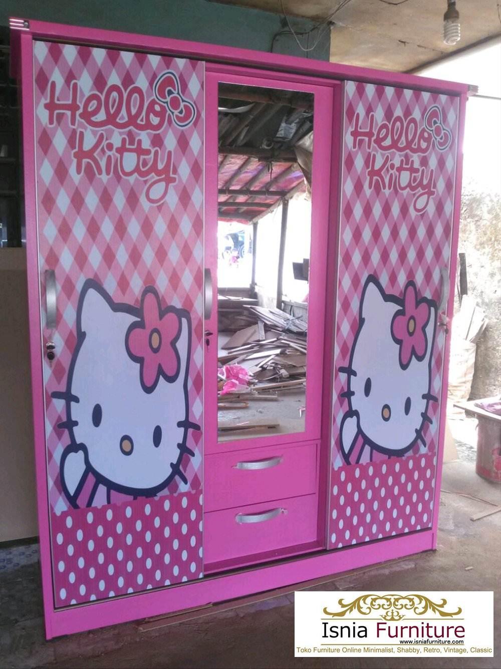 Jual Lemari Anak Karakter Hello Kitty Bahan Kayu Minimalis