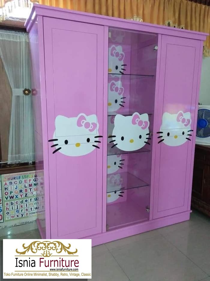 lemari-pakaian-anak-karakter-hello-kitty Jual Lemari Anak Karakter Hello Kitty Bahan Kayu Minimalis