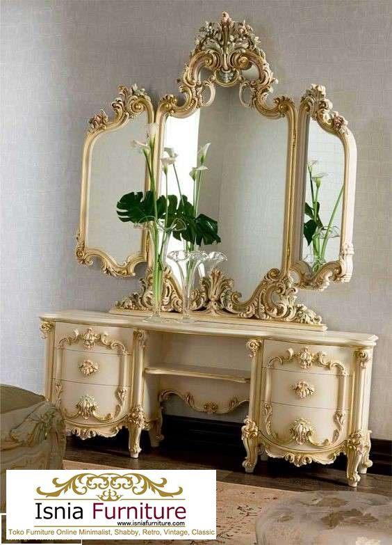 meja-rias-mewah-ukiran-jepara-3-cermin Jual Meja Rias Ukiran Mewah Model Unik Tiga Cermin