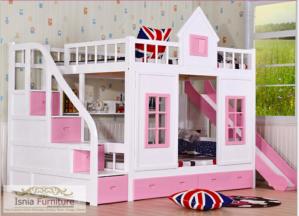 Jual Tempat Tidur Anak Tingkat Model Rumah Minimalis Pink