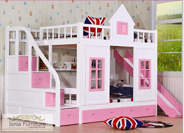 tempat-tidur-anak-tingkat-model-rumah-pink Jual Tempat Tidur Anak Tingkat Model Rumah Minimalis Pink