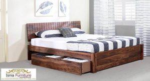 Jual Tempat Tidur Sorong Kayu Jati Solid Model Minimalis
