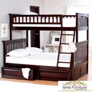 Tempat Tidur Tingkat Kayu Jati Minimalis Modern Dengan Laci