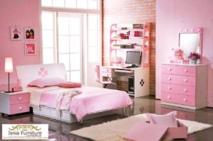 Set Kamar Anak Perempuan Minimalis Tempat Tidur Berlaci