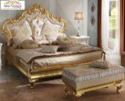 Dipan Tempat Tidur Mewah Kayu Ukir Gold Desain Klasik