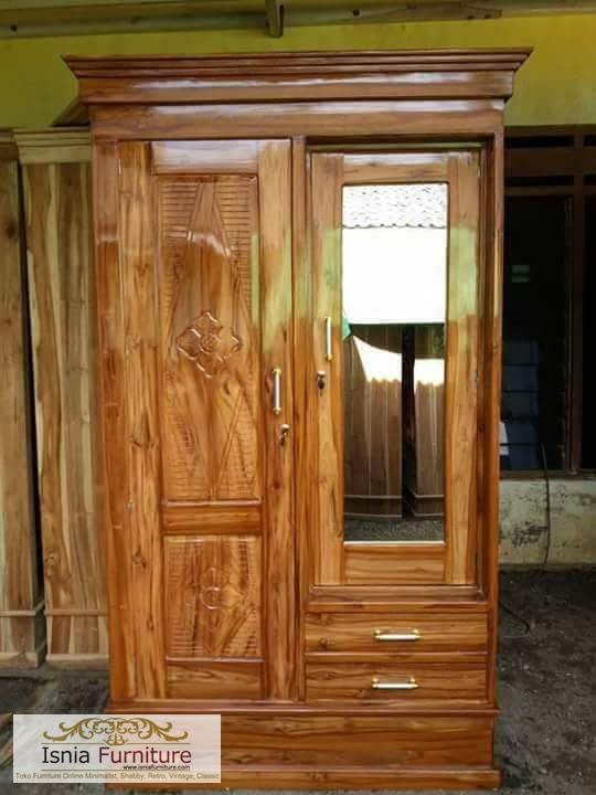 lemari-pakaian-minimalis-2-pintu Jual Lemari Jati 2 Pintu Minimalis 2020 Model Terbaru
