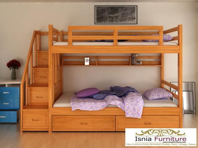 tempat-tidur-anak-tingkat-kayu Dipan Tingkat Kayu Jati Modern Minimalis 2020 Untuk Anak
