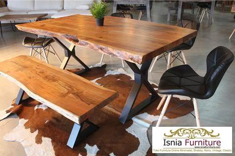 meja-trembesi-kaki-silang Meja Trembesi Kaki Besi Untuk Makan Sehari Hari Model Minimalis
