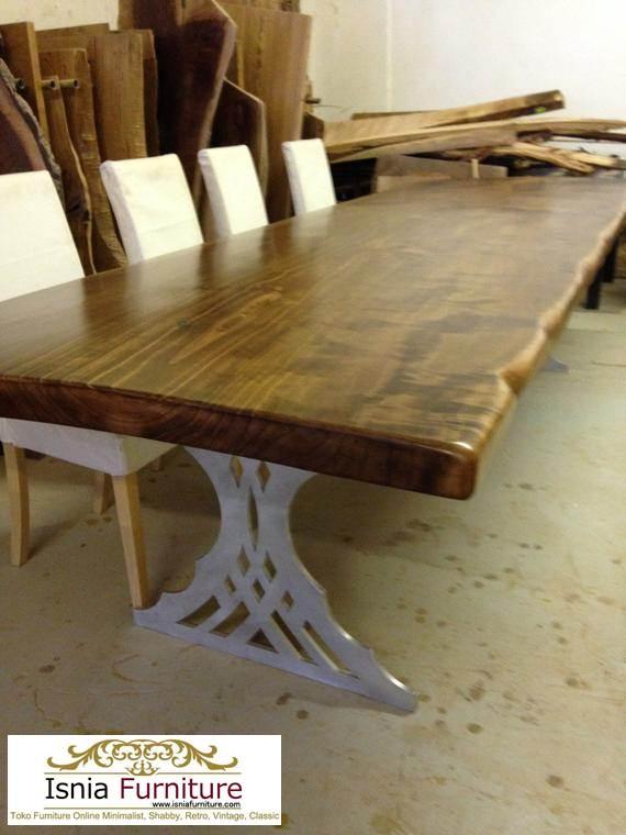 meja-trembesi-solid Meja Trembesi Kaki Besi Untuk Makan Sehari Hari Model Minimalis