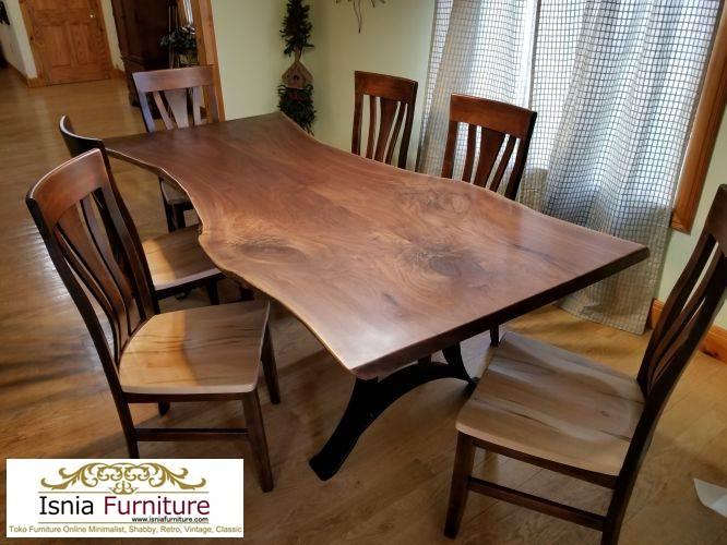 set-meja-makan-trembesi Meja Trembesi Kaki Besi Untuk Makan Sehari Hari Model Minimalis