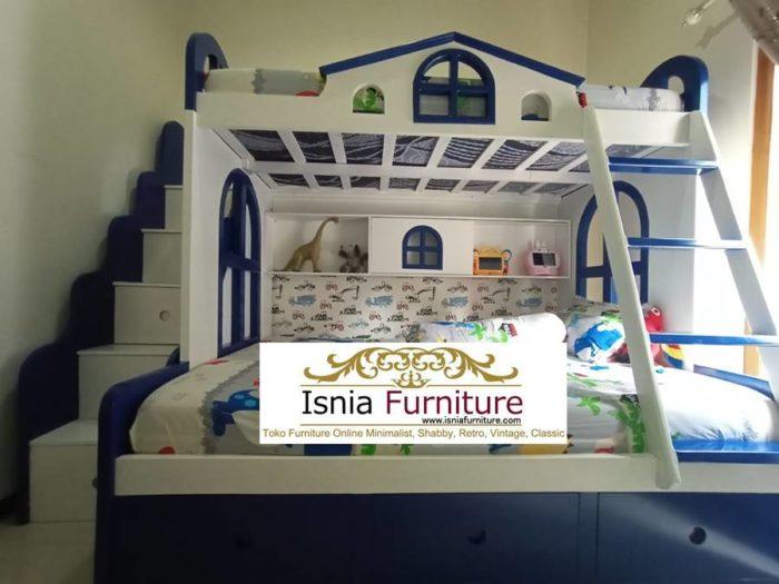 desain-tempat-tidur-tingkat-warna-putih-biru-desain-baru-untuk-anak-700x525 Jual Dipan Anak Tingkat Berlaci Putih Biru Kayu Mahoni Solid