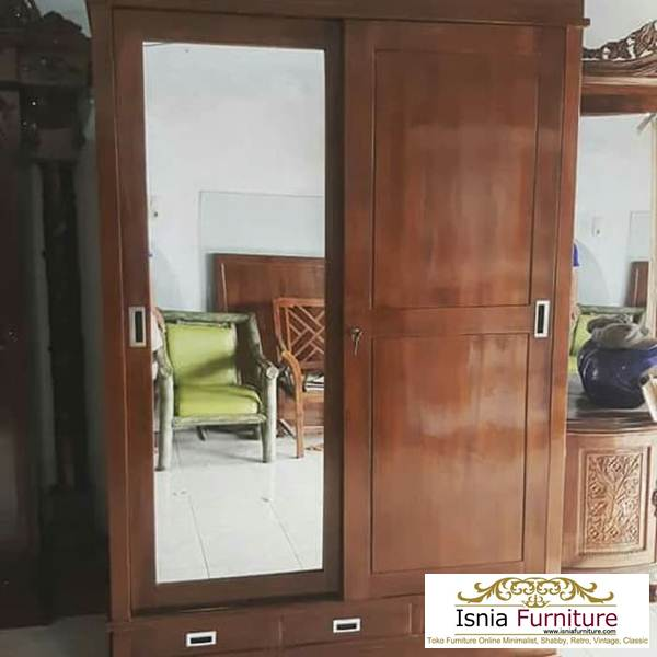 lemari-pakaian-2-pintu-kayu-jati-sliding-kaca Model Lemari Pakaian 2 Pintu Kayu Jati Sliding Kaca Terlaris