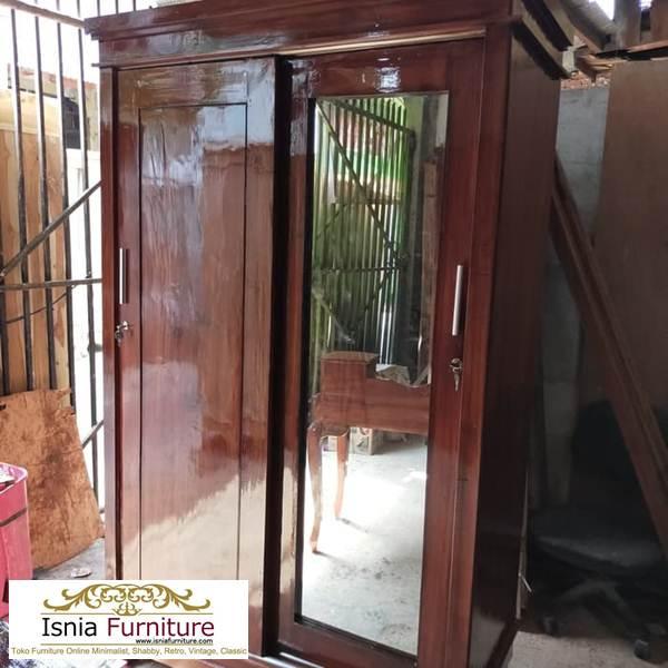 lemari-pakaian-jati-pintu-sliding-minimalis Model Lemari Pakaian 2 Pintu Kayu Jati Sliding Kaca Terlaris
