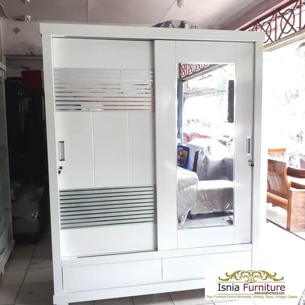 lemari-pakaian-minimalis-pintu-kaca-sliding Model Lemari Pakaian 2 Pintu Kayu Jati Sliding Kaca Terlaris