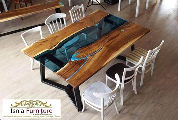 meja-trembesi-resin-modern Harga Meja Trembesi Resin Desain Unik Untuk Makan