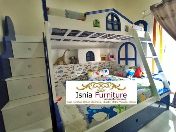 tempat-tidur-tingkat-putih-biru-modern-untuk-anak-700x525 Jual Dipan Anak Tingkat Berlaci Putih Biru Kayu Mahoni Solid