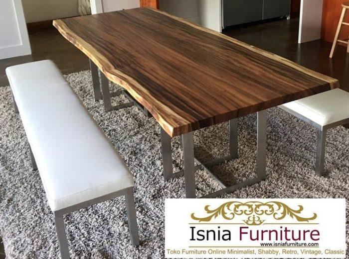 meja-makan-kayu-trembesi-kaki-stainless-modern-700x521 Jual Meja Trembesi Kaki Stainless Modern