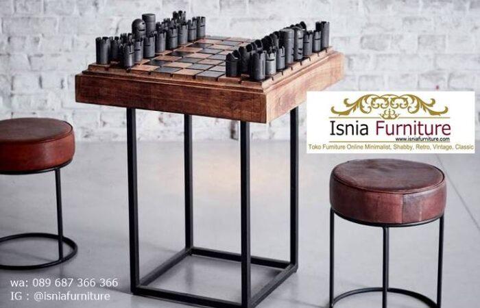 meja-papan-catur-jati-model-desain-kaki-besi-700x450 Meja Papan Catur Kayu Jati Minimalis Solid Terlaris