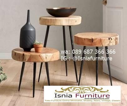 meja-bulat-kayu-trembesi-kaki-besi-bentuk-bulat-unik Meja Bulat Kayu Trembesi Unik